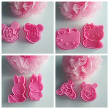 2Pcs/Set Hello Kitty Mickey Shape Cookie Mould Plastic Sugar Fondant Cake Mold Biscuit Cookie Cutters Cookie Tools(China)