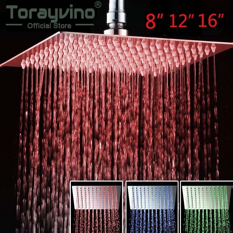 Torayvino 8 12 16 LED Shower Head Romantic Bathroom Shower Head Temperature Control 3 Color Light Shower Head Square пуховик tom farr пуховик