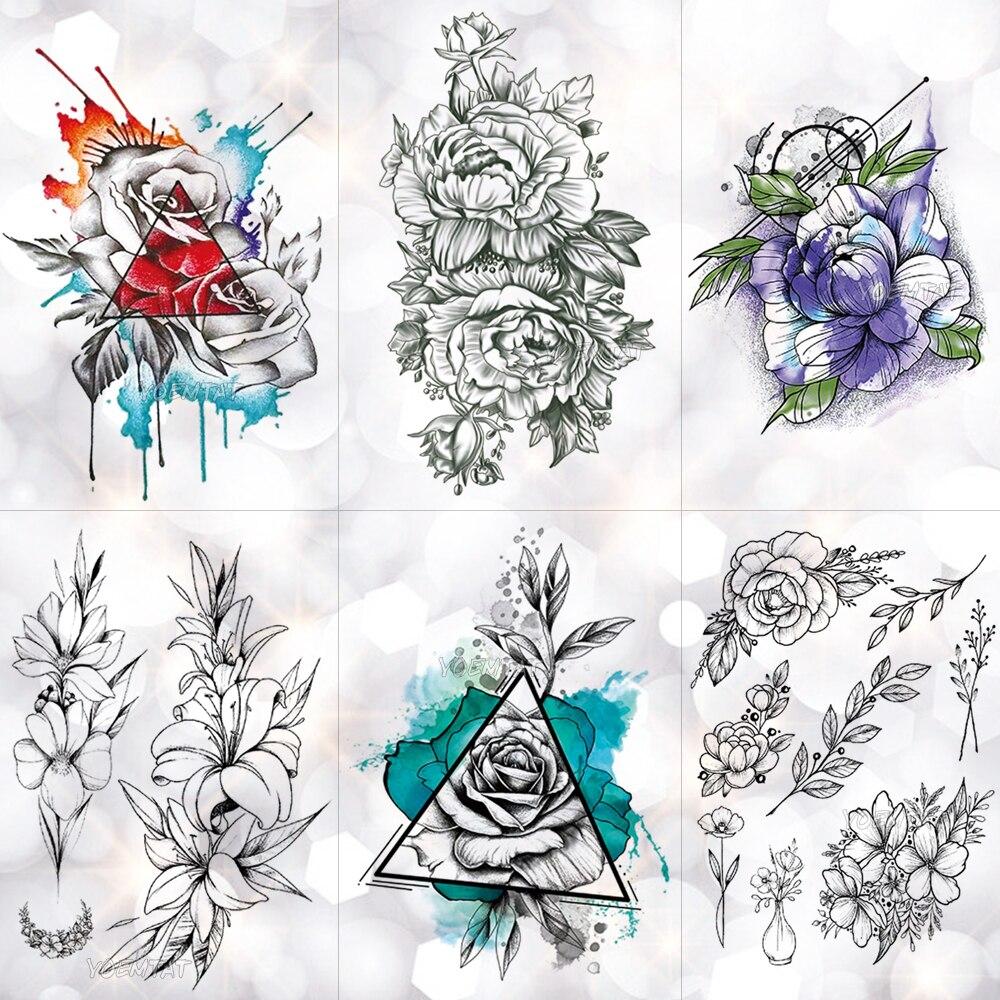 Triangle Inkjet Rose Waterproof Temporary Tattoo Sticker Minimalist Flower Lily Tattoos Body Art Arm Hand Women Fake Tatoo