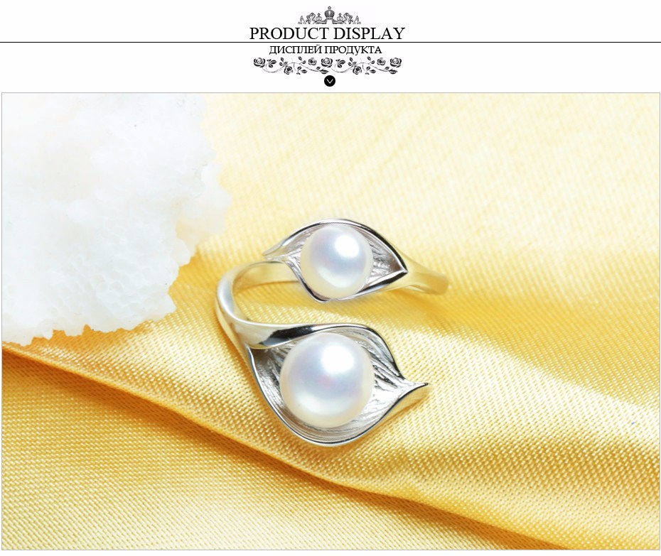 FENASY Natural Freshwater Double Pearl Ring Boho Fashion Leaf Statement Cocktail 925 Sterling Silver Rings For Women Jewelry