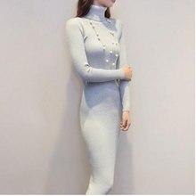 Для женщин Платья-свитеры Черный, серый цвет осень и зима с длинным рукавом водолазка вязаный пикантные Вязание платье ae2062