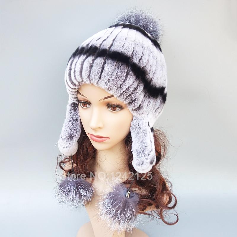 Nouveau chaud russie hiver enfants femmes fille réel rex lapin chapeau cache-oreilles argent renard pompon véritable fourrure oreille chapeaux casquettes