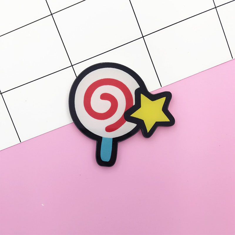 12 Pieces/Lot Dessert Acrylic Badges Lollipop Brooches Pins For Clothing Shoes Package Brooch Women Men Pin Jewelry Accessories