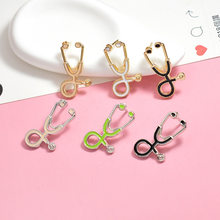 Cute Stethoscope Nurse Doctor Collar Pin Brooches Lapel Suit Pin Puppy Enamel Brooch Backpack Bag Accessories Womem Girl(China)