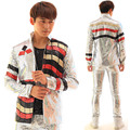 Fashion Silver Sequins Men Jacket Blazer Nightclub Bar Stage Show Male Dj Singer Dancer Performance Costumes Coat Outfit