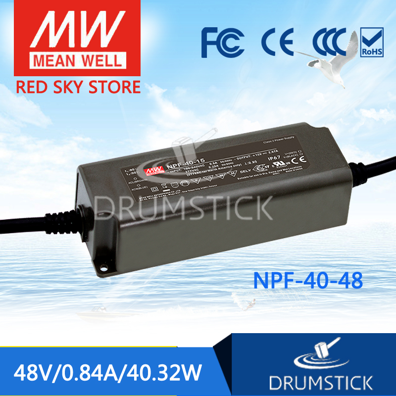 Advantages MEAN WELL NPF-40-48 48V 0.84A meanwell NPF-40 48V 40.32W Single Output LED Switching Power Supply mean well original npf 40d 36 36v 1 12a meanwell npf 40d 36v 40 32w single output led switching power supply