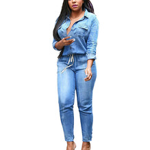 Denim Overalls Women Casual Cowboy Office Wear Jumpsuits Deep V sexy Long Sleeves Bandage Elastic Waist Jumpsuits Body Mujer#ssw