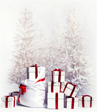 Gold Christmas Tree Photography Background Backdrop 3×5 White Snow Photo Backdrop for Family Photo Booth Camera Fotografia