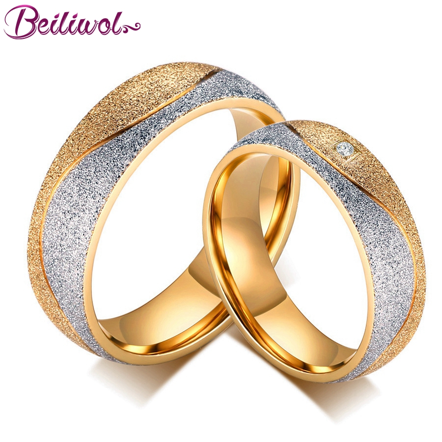 Engraved Name Couple Ring Ladies Jewelry Gold color ...