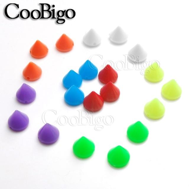 100pcs 7*8mm Plastic Colorful Punk Spike Rivet Cone Stud Bead For Bracelet Bag Cap Shoes Garment DIY Craft Sewing Accessory