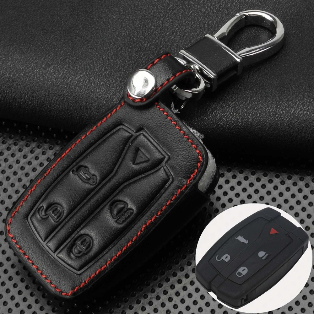 Remote 5 Buttons Car Key Case Cover Leather Shell Uncut Blade Fob Fit For Land Rover Freelander 2 3