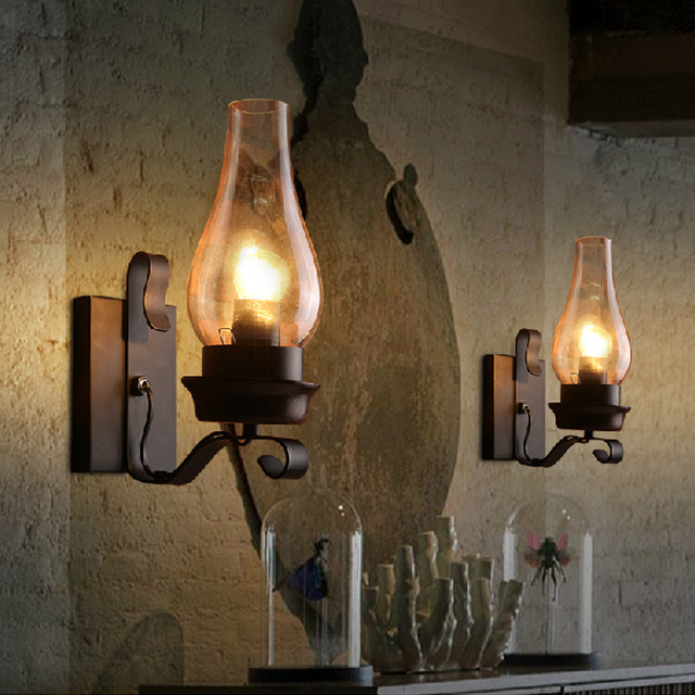 Vintage American industrial Iron Wall Lamps Clear Glass Candle ...