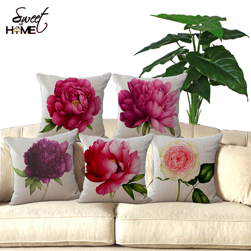 Square 18u0026quot; Cushion Without Insert Flowers Printed Decorative Sofas  Throw Waist Cushions Car Seat Pillows