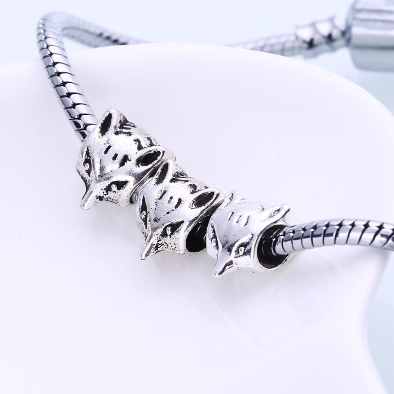 Metal Fox Beads Fit Pandora Charms Antique Silver DIY Zinc Alloy European Animal Fox Beads for Bracelets 30pcs/lot BC1039
