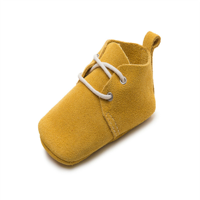 Hot Sale New Fashion Soft Sole Baby Girls Boys Suede Genuine Leather First Walkers Newborn Lace-Up Moccasins Kids Toddler Shoes