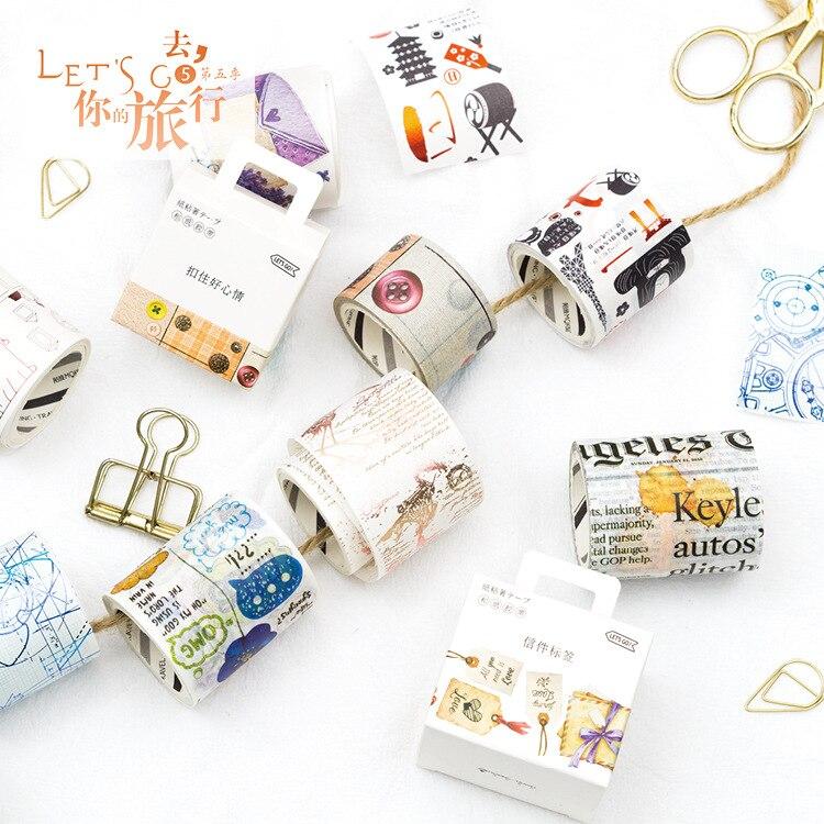 Go путешествия V васи ленты сетки письмо этикетки DIY декоративные записки Бумага малярный скотч клей Washitape Label Стикеры