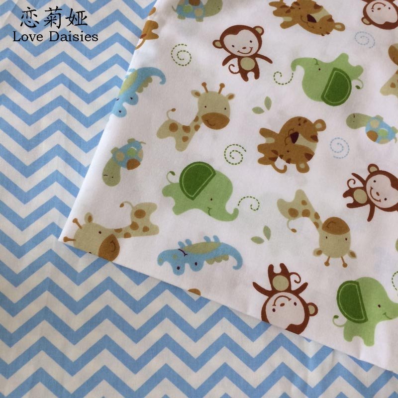 100 cotton twill cloth cartoon animals monkey blue zigzag for Fabric for children s clothes