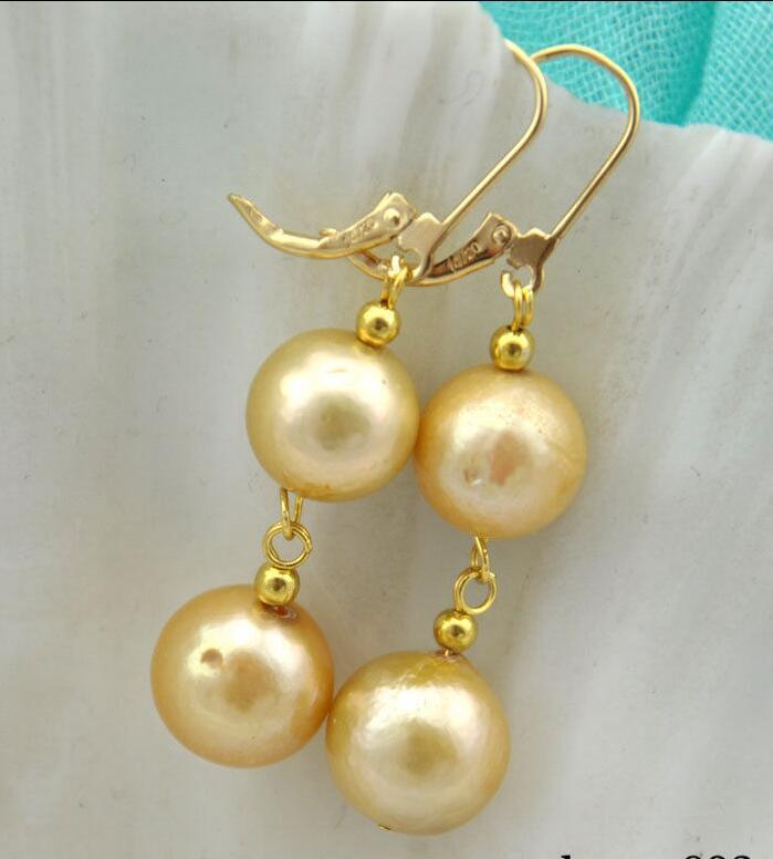 Livraison Gratuite>>>> Rare 12mm or ronde Edison Reborn perle balancent la boucle d'oreille