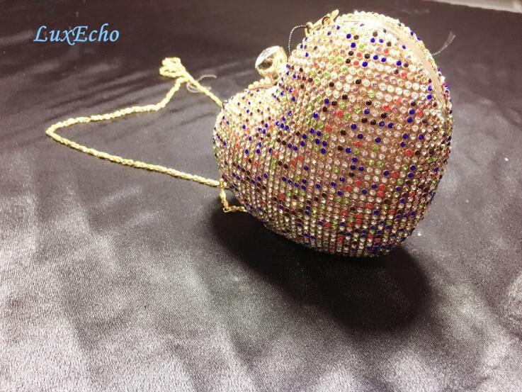 New arrival Heart design Rhinestone Evening bags Chain Shoulder bags handbags Diamonds Fashion Day Clutches wedding