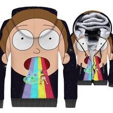 Rick and Morty Jacket 3D Print Hoodie Men Funny Morty Sweatshirt Winter Thick Fleece Zipper Warm Black Hip Hop Sportswear Mens