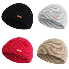 8a8219ed37e Short Ingots Knitted Ski Hats Autumn Winter Unisex Outdoor Warm Beanies  Vintage Single Layer Cuffed Ear