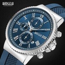 Baogela хронограф кварцевые часы для мужчин мальчики мода повседневный мужчина водонепроницаемый аналоговые наручные часы светящиеся руки синий BG1708