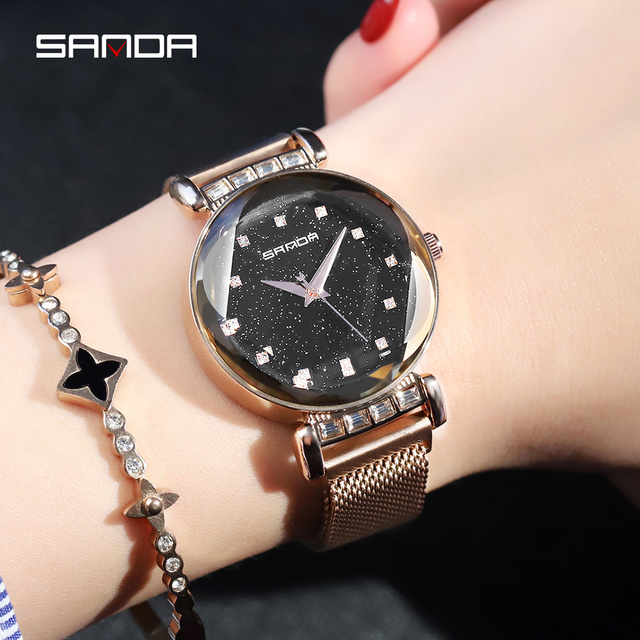 19c3d661e Luxury Brand SANDA Fashion Ladies Watch Quartz Women Wristwatch Mesh Steel  Female Watches Magnetic Clasp Clock relogio feminino