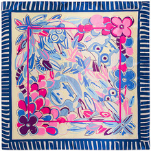 Flowers Monkeys Face Square Scarf Silk Feeling 90cm Scarves Match Apparel Accessory Woman Girl s Add