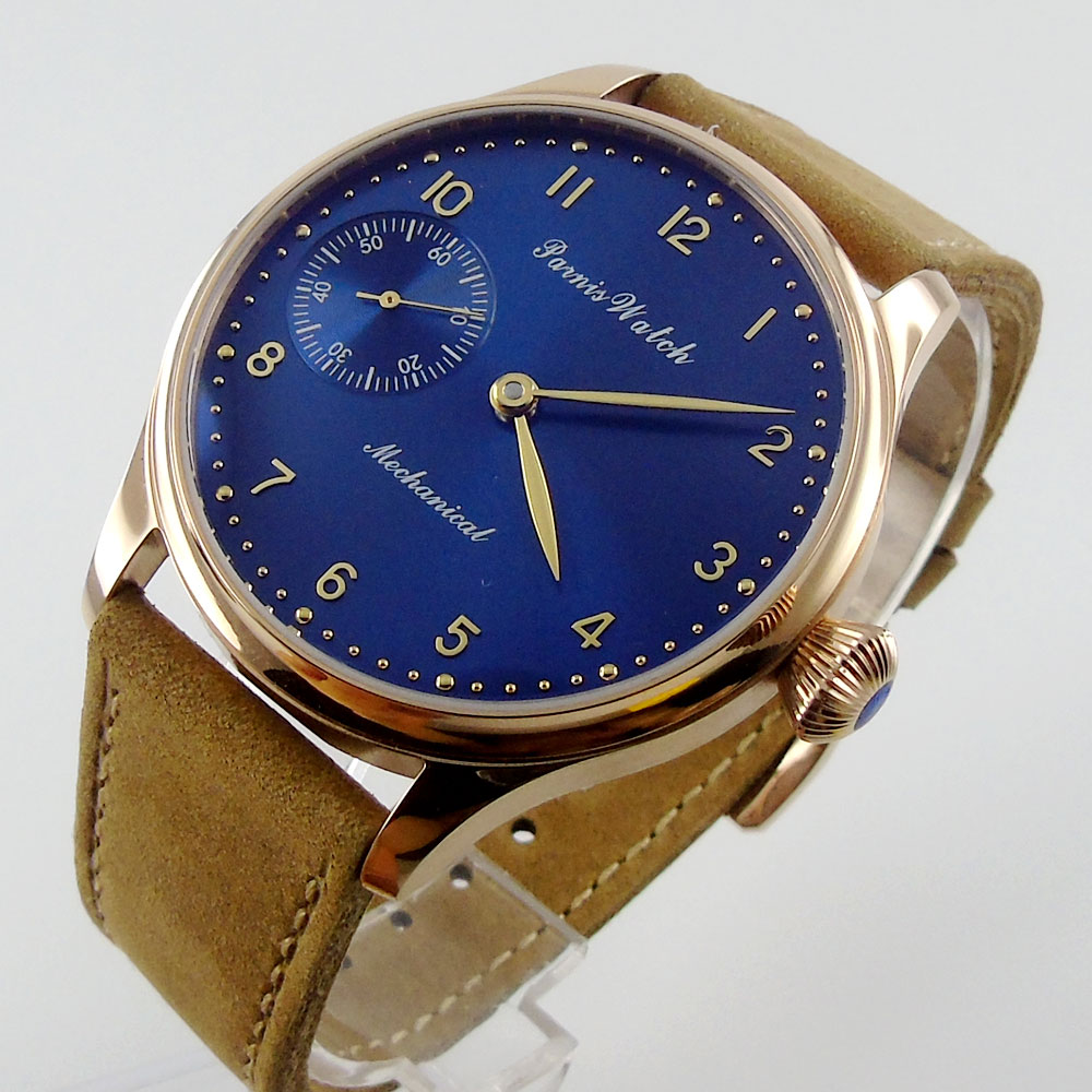 44mm Parnis Blue Dial Genuine Leather Strap rose golden case Hand Winding Mechanical Men's watches