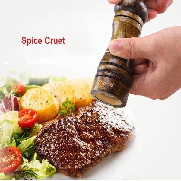 Herb Grinder Pepper Spice Wooden Cruet Mill Condiment Grinding Salt Gourmet Shaker Set Machine Caster Kitchen Tool Free Shipping