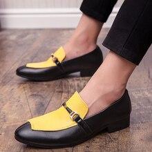 Men Dress Shoes Yellow Oxfords Foe Footwear Fashion Mens Party New Trendy Italian