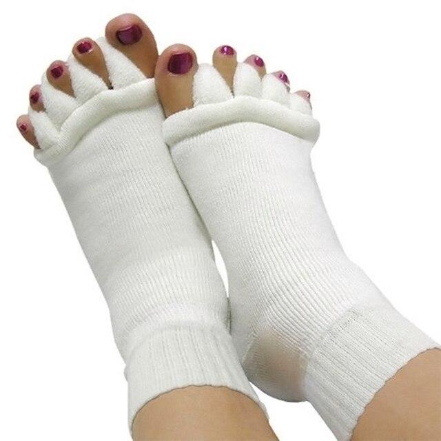 1 Пара Носок ТРЕНАЖЕРНЫЙ ЗАЛ Массаж СПА Педикюр Yoga Пять Toe Сепаратор носки Ног Выравнивание Носки Для Облегчения Боли Бурсит Флип-Флоп Носки