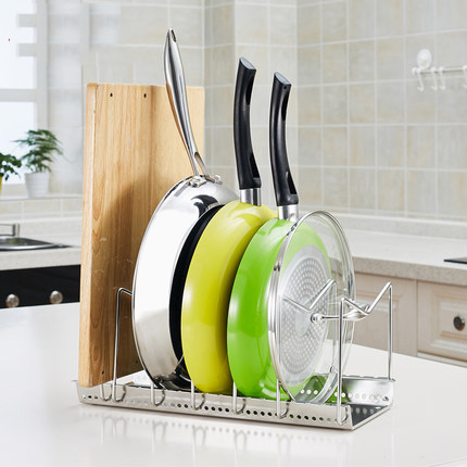 Kitchen Accessories Stainless Steel Pans Chopping Block Pot Covers Storage  Rack,cutting Board Storage Holder