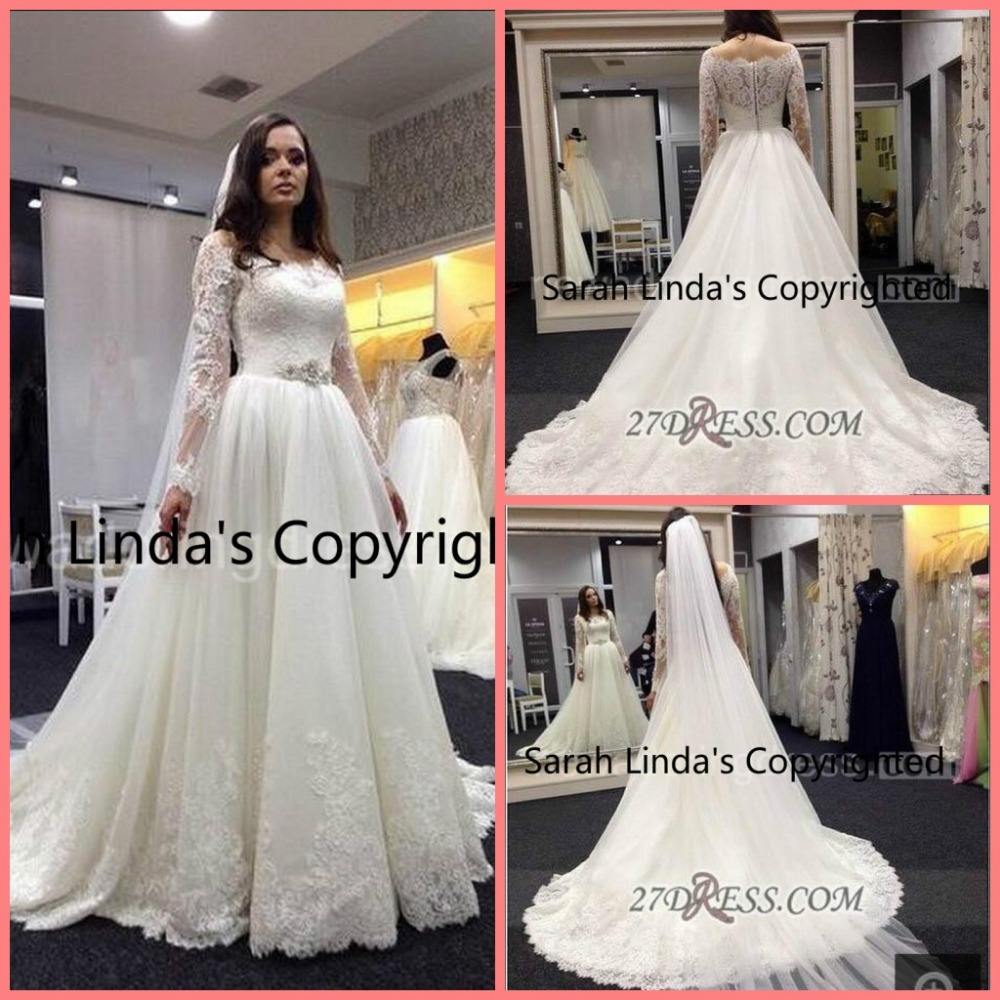 Elegant Bateau neckline Long Sleeve Tulle Fashion Wedding Dress With Lace appliques bridal gowns best selling
