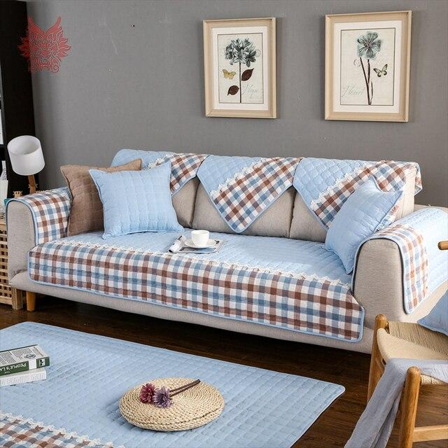 Blue Green Red Plaid Sofa Cover Pure Cotton Quilting Sectional Slipcovers  Lace Decor Fundas De Sofa