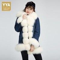 Высокое качество белая Лисичка джинсовая куртка Горячая утолщенная Женская Шуба Длинная зимняя теплая норковая Подкладка натуральный мех