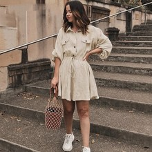 Vintage Lantern Sleeve Button Work Dress Women Turndown Collar Linen Casual Dress Solid Waist Lace Up Mini Dress turndown collar checked linen shirt