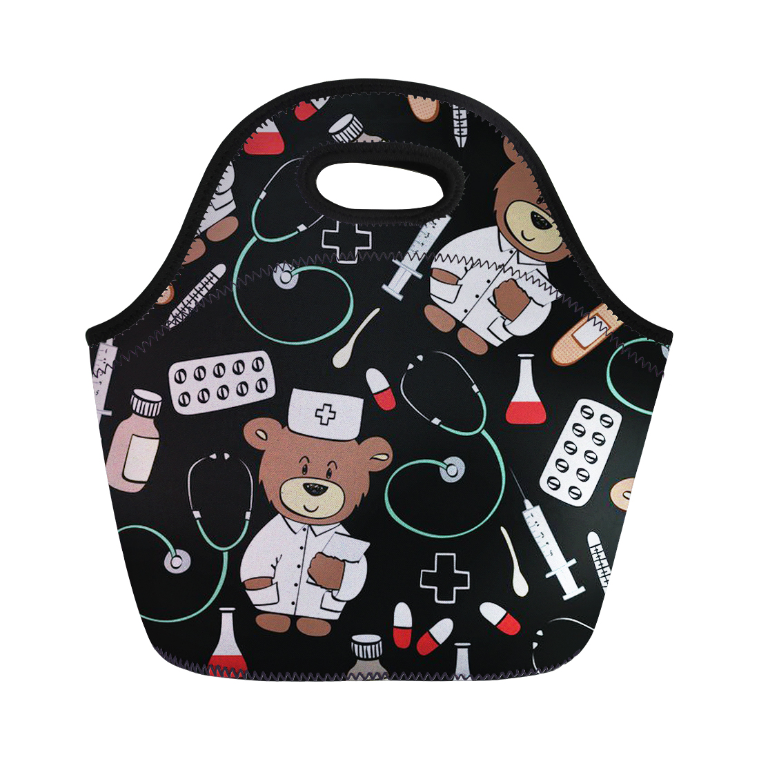 Cartoon Doctors Bear Printed Lunch Bag for Women Kids Portable Food Tote Picnic Containe ...