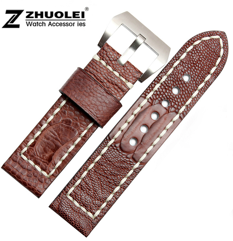 цена на Watch band 24mm 26mm New Men Dark Brown Real Genuine Ostrich Skin Leather Watchbands Watch Straps Bracelets Watch buckle