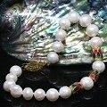 Недавно браслет белый пресной воды природный 9-10 мм круглый жемчуг позолоченные бисер женщины подарок ювелирные изделия B1412