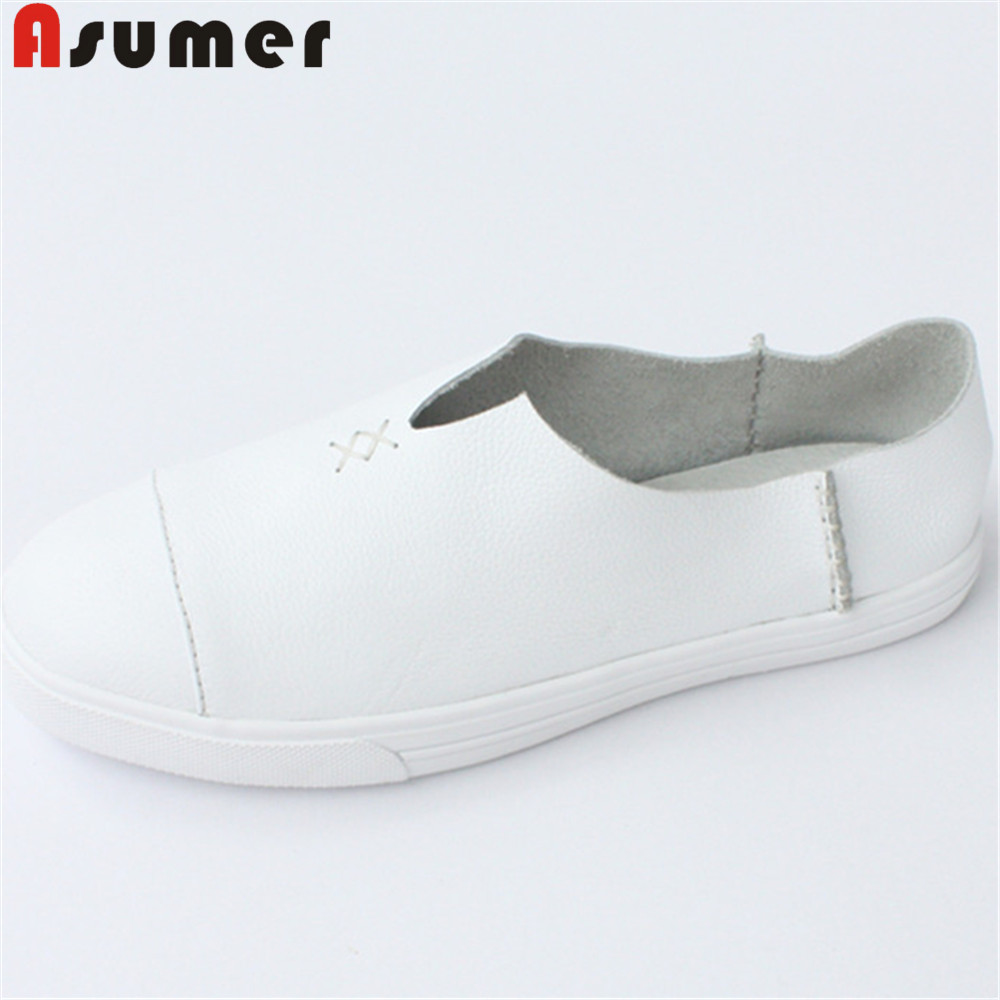 ASUMER white fashion spring autumn new arrival flat shoes woman round toe casual comfortable women genuine leather flats muyang new 2017 women shoes genuine leather flats round toe bowtie soft comfortable flat shoes spring autumn casual female shoes