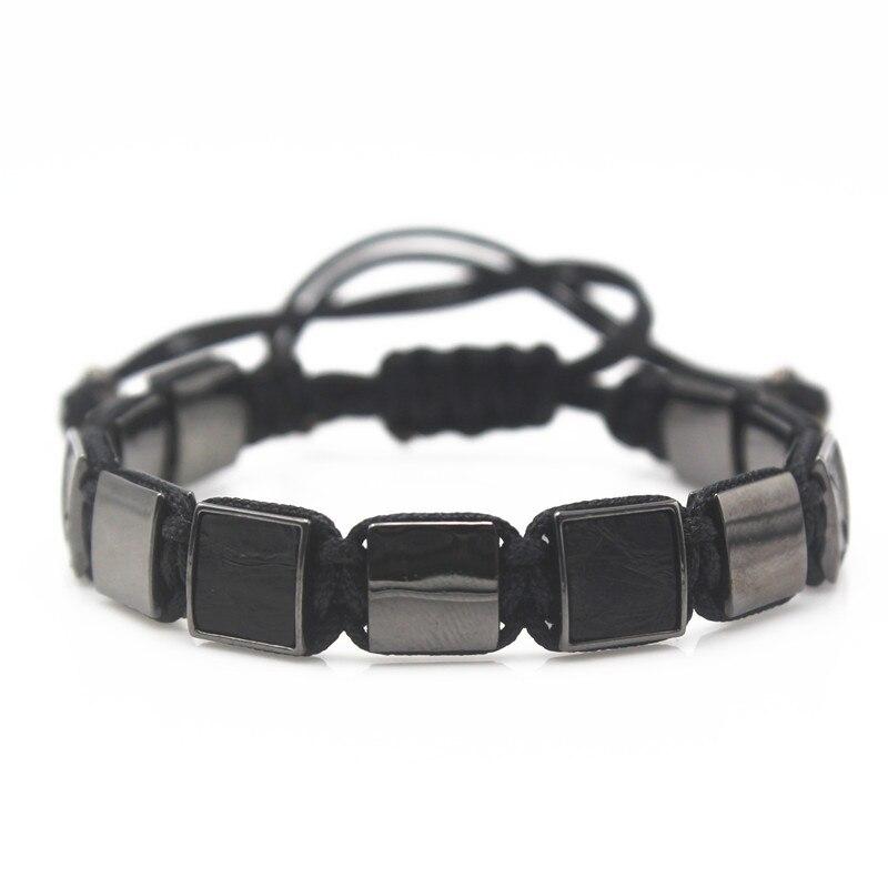 Luxury Square Leather Beads Bracelets for Women Black Python Leather Bangle Black Beads Macrame Jewelry new style bracelets mens 10mm micro pave black cz square beads bracelets