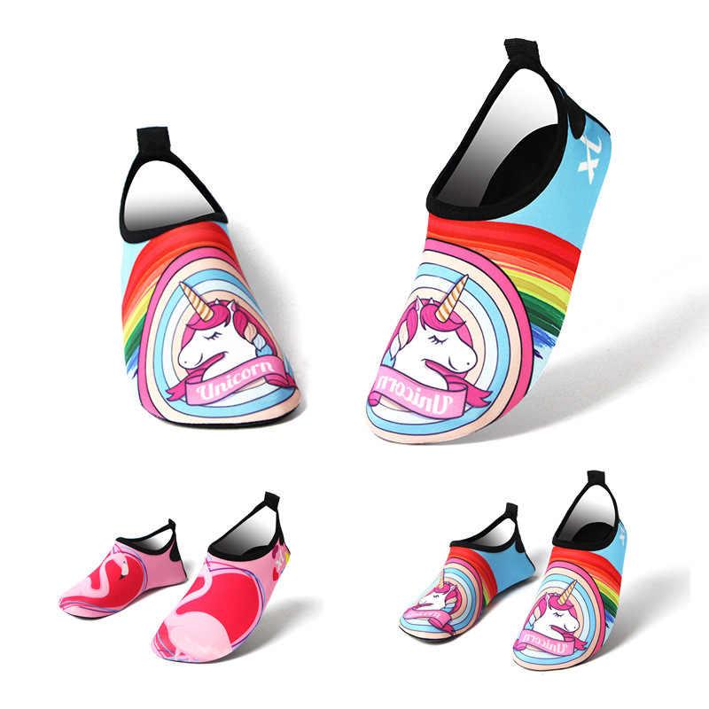 2019 ขนาด 24-35 เด็กชายหาดรองเท้าแตะ Unicorn สายรุ้งรองเท้า Boy Girl Barefoot ดำน้ำรองเท้าแตะฤดูร้อน flamingo