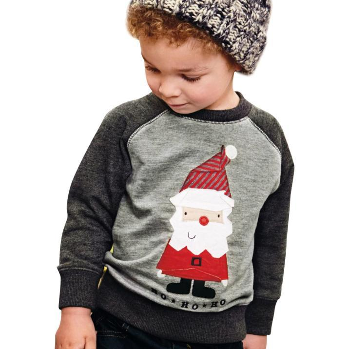 Tshirt Raglan-Top Christmas Fall/winter Long-Sleeve Printed Baby-Girls Kids Boy Santa-Claus