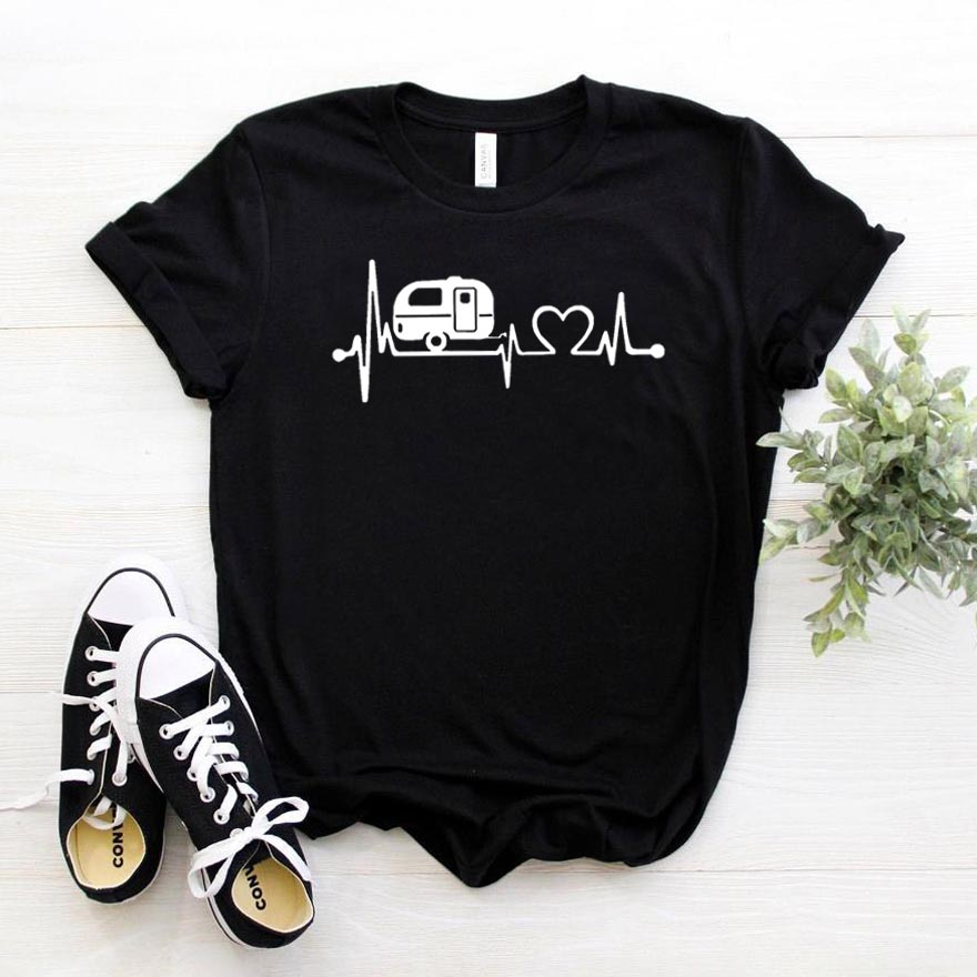 Happy Camper Heartbeat Women Tshirt Cotton Casual Hipster Funny T-shirt Gift Lady Yong Girl Top Tee Drop Ship ZY-295
