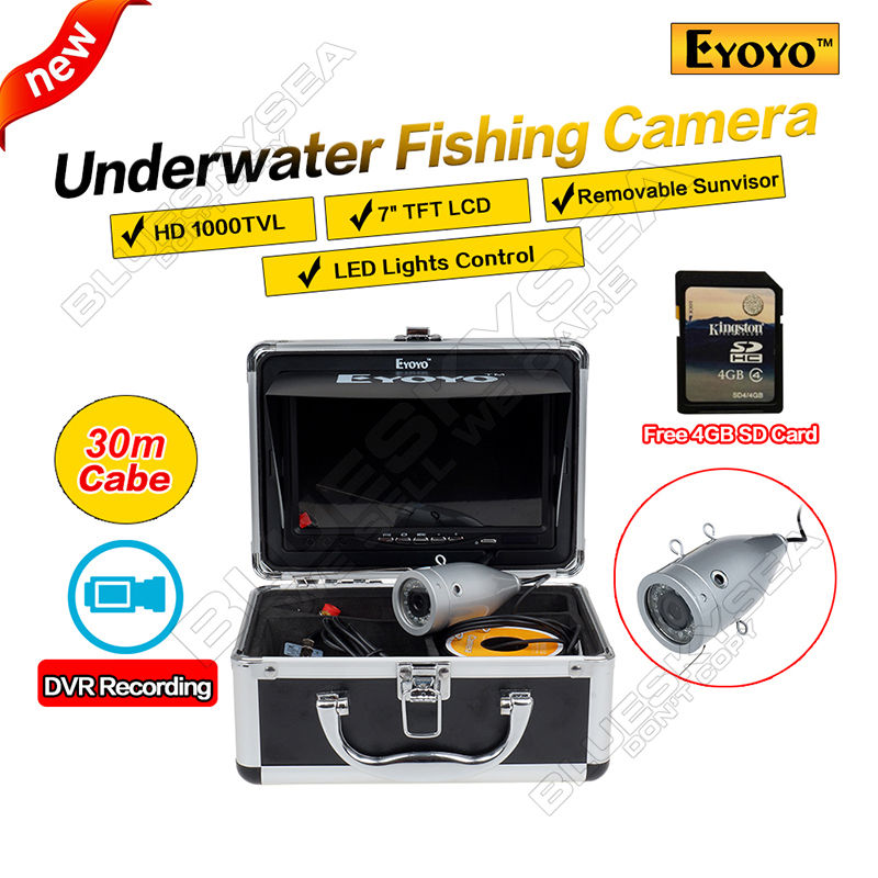 Eyoyo Original 30M Fish Finder Full Silver HD 1000TVL Underwater Fishing Camera Video Recording DVR 7