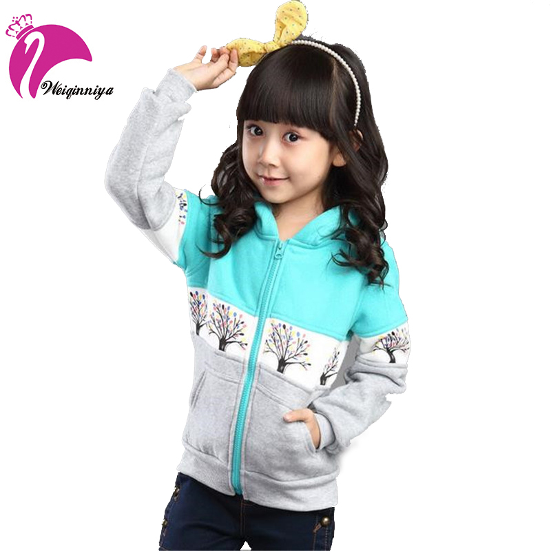 New Style 2017 Girls Hoodie Coats Autumn Winter Long Sleeve Print Jackets Children's Outwear Sweatshirts Pullover Clothing Hot