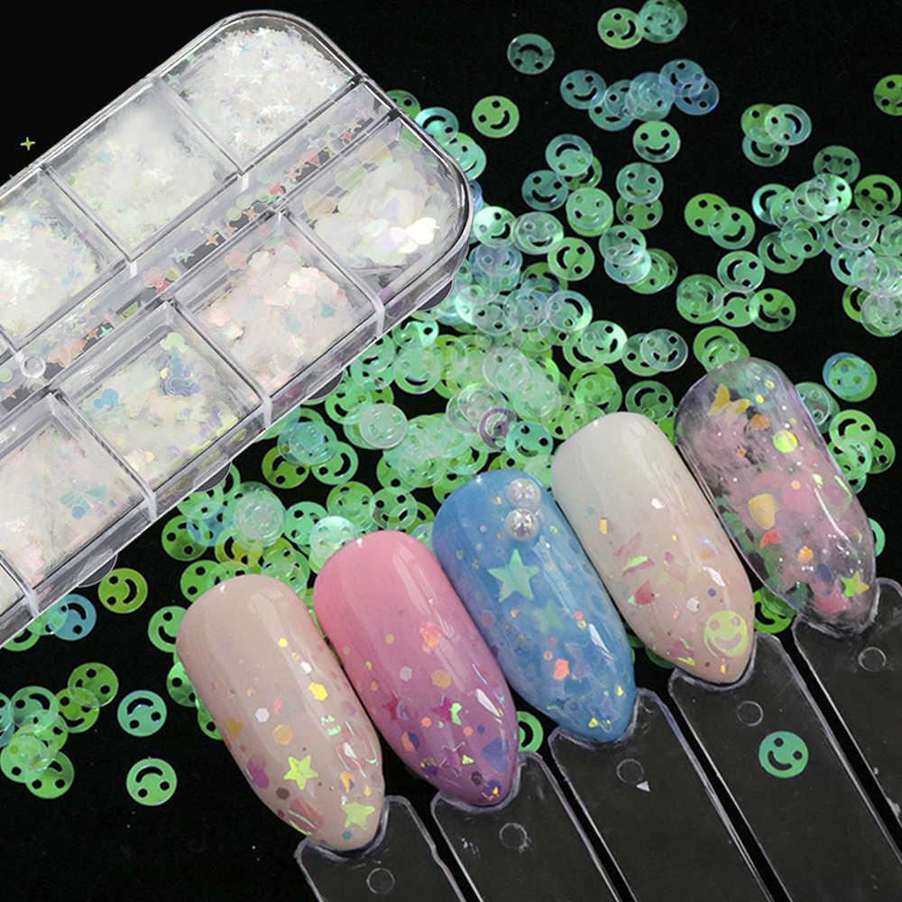 12 сеток смешанные Блестки для ногтей зеркальная сахарная пудра с пайетками для УФ-гелевых хлопьев маникюрные наконечники для дизайна ногтей Русалка пигмент CH097