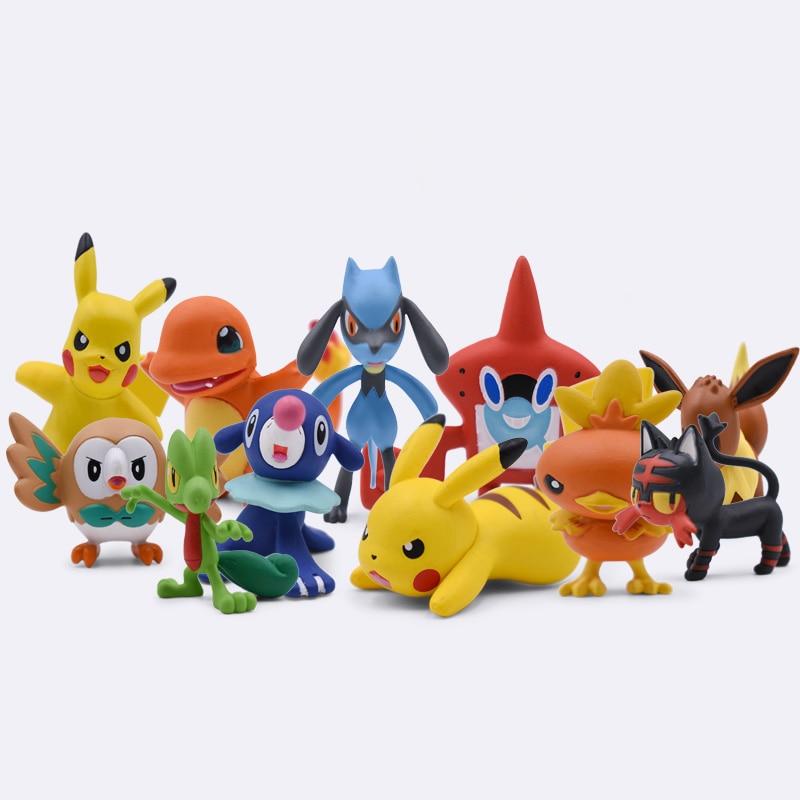 4CM Charmander Popplio Litten Lucario Pikachu Rotom Rowlet Treecko Torchic Eevee Fennekin Greninja PVC Toys Dolls Figures