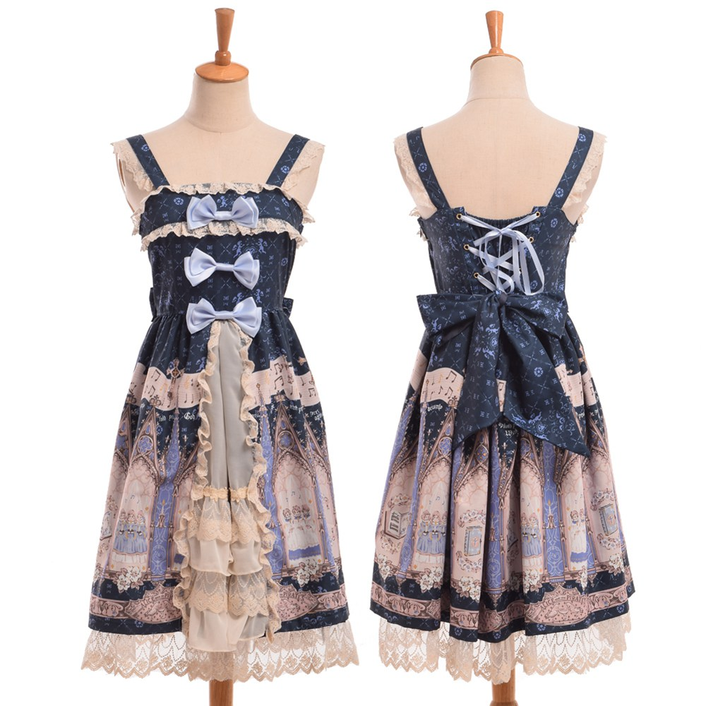 Donne Ragazze Sweet Bows Fairy Lace Trim JSK Cute Suspender Lolita Dress